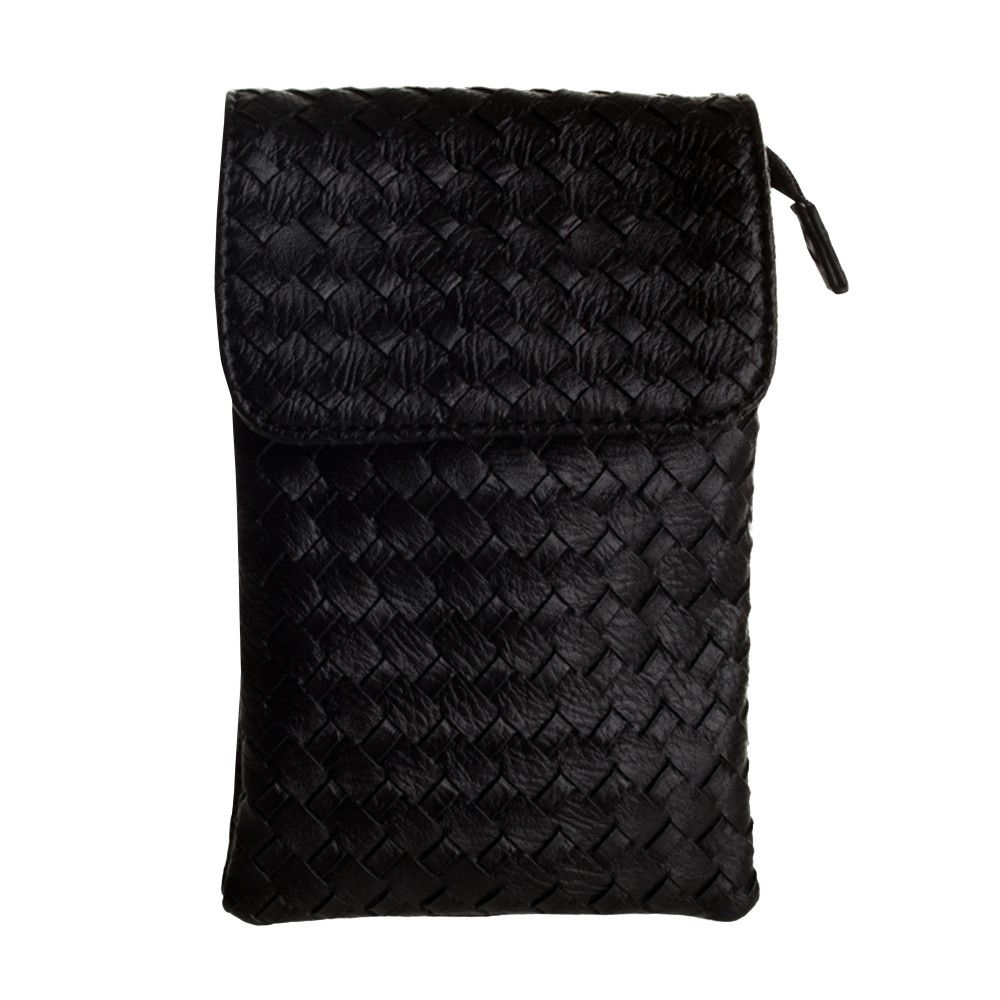 Apple iPhone 6 Plus -  Vegan Leather Woven Crossbody bag, Black