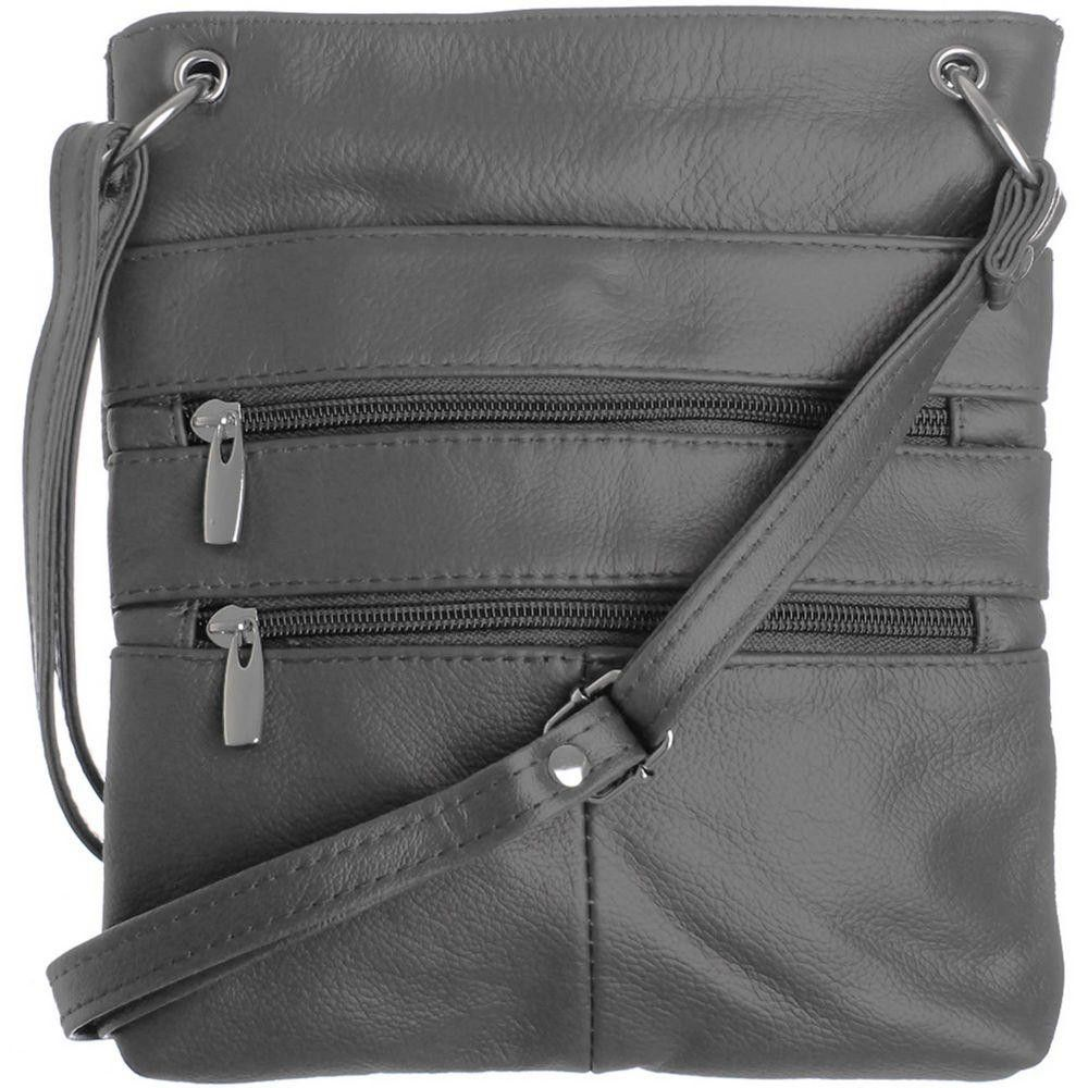 Apple iPhone 6 Plus -  Genuine Leather Double Zipper Crossbody / Tote Handbag, Gray