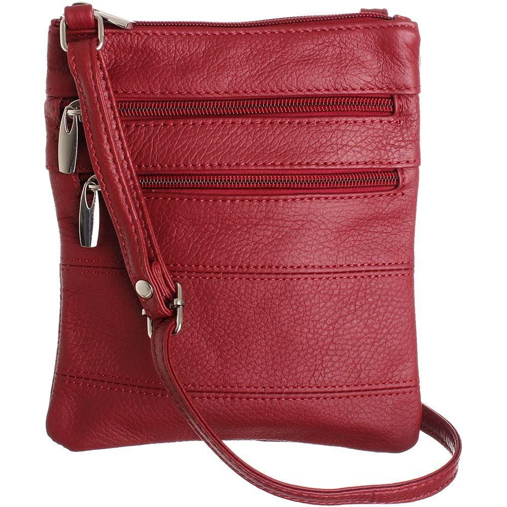 Apple iPhone 6 Plus -  Genuine Leather Double Zipper Crossbody / Tote Handbag, Red