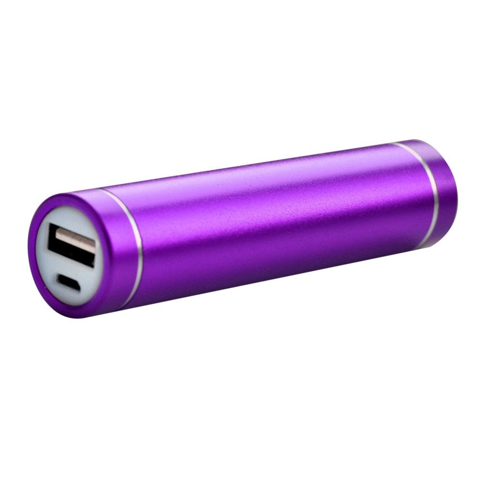 Apple iPhone X -  Universal Metal Cylinder Power Bank/Portable Phone Charger (2600 mAh) with cable, Purple