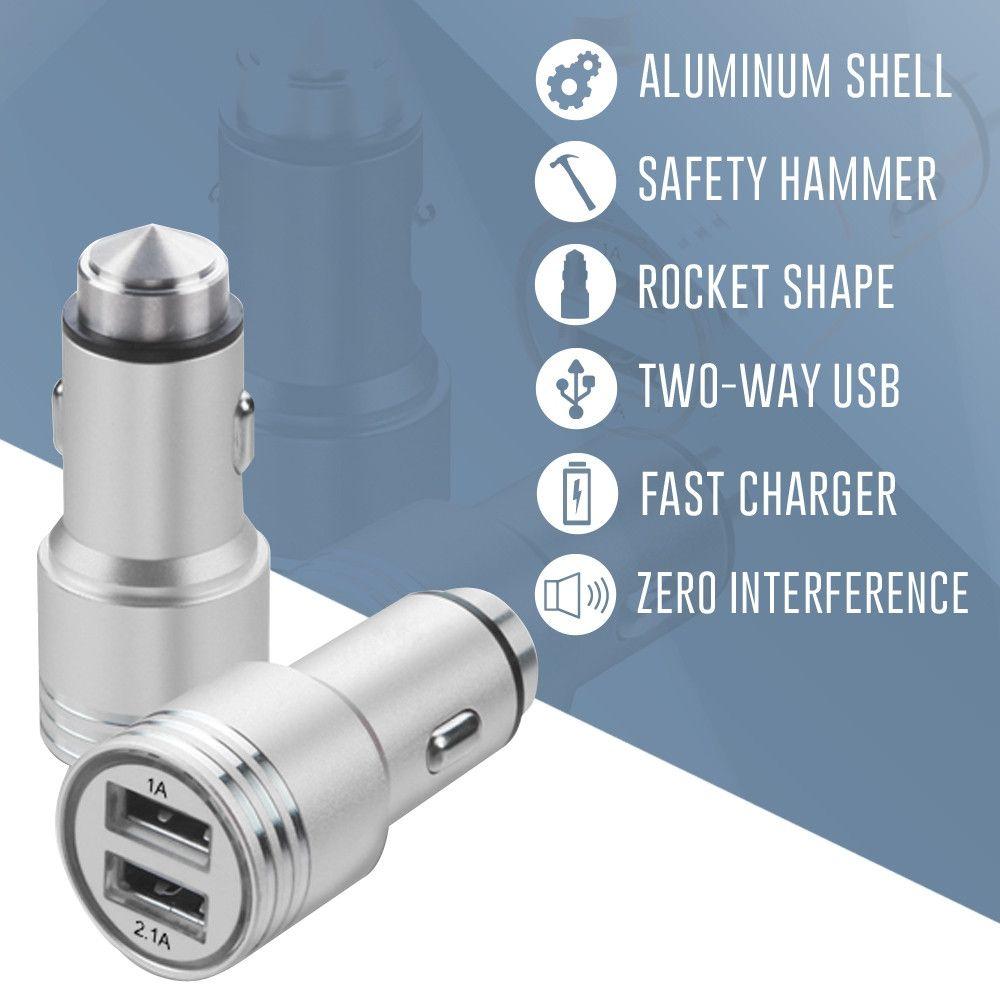 Apple iPhone X -  Dual USB Port Fast Charging Vehicle Power Adapter (3.1 Amp, 3100mAh), Silver