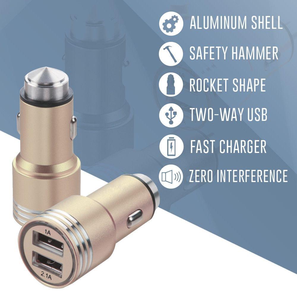 Apple iPhone X -  Dual USB Port Fast Charging Vehicle Power Adapter (3.1 Amp, 3100mAh), Gold
