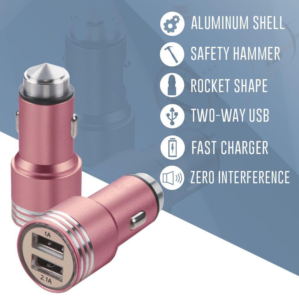 Apple iPhone X -  Dual USB Port Fast Charging Vehicle Power Adapter (3.1 Amp, 3100mAh), Rose Gold