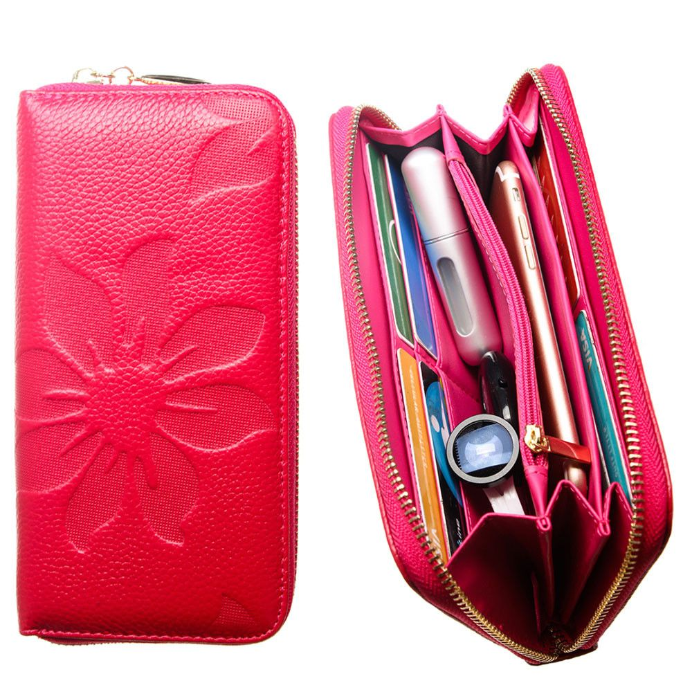 Apple iPhone 6 Plus -  Genuine Leather Embossed Flower Design Clutch, Hot Pink