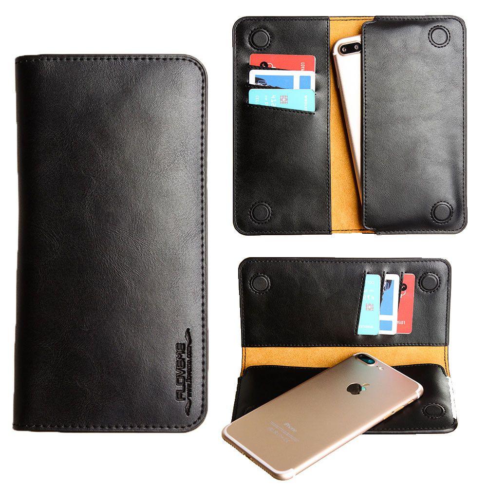 Apple iPhone 6 Plus -  Slim vegan leather folio sleeve wallet with card slots, Black