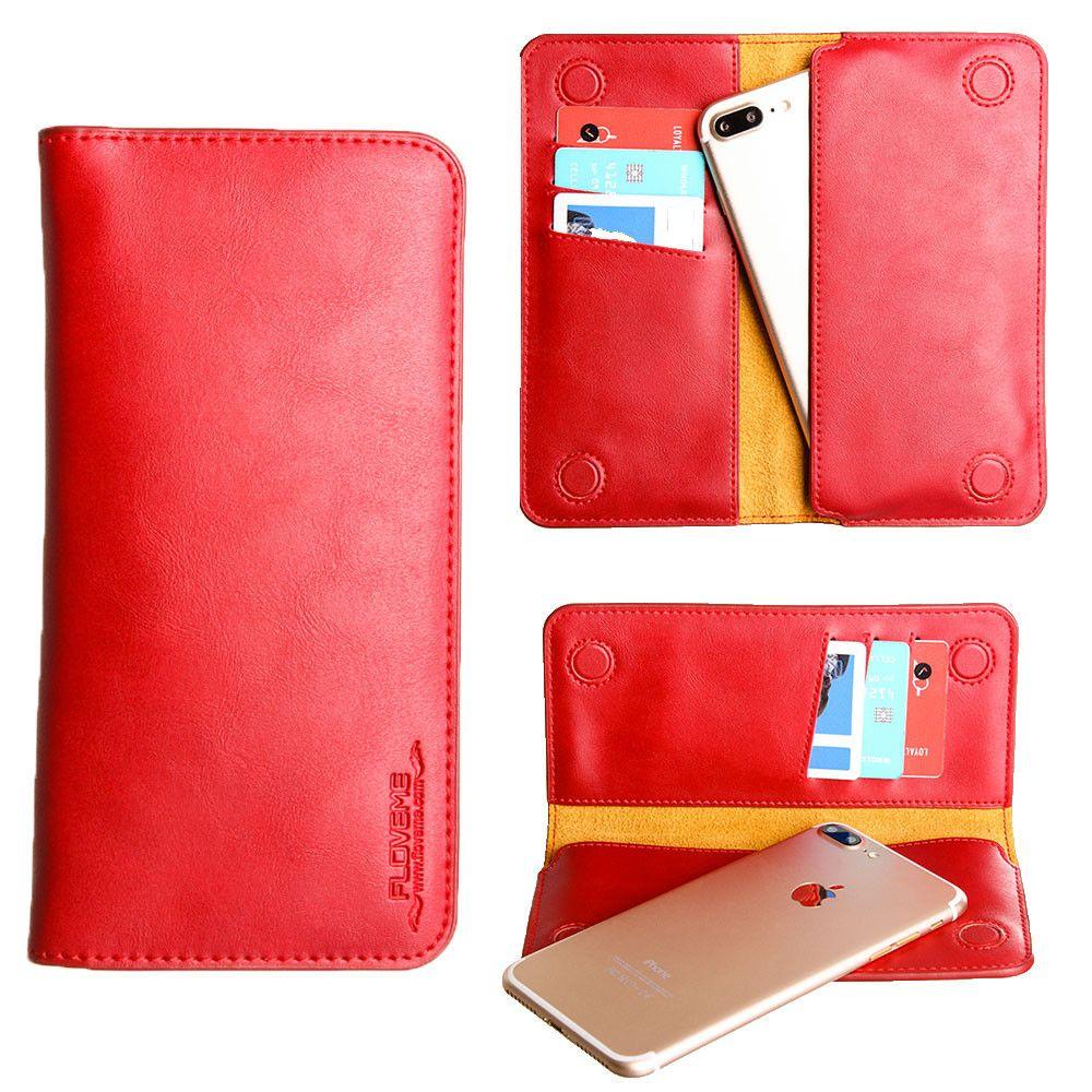 Apple iPhone 6 Plus -  Slim vegan leather folio sleeve wallet with card slots, Red