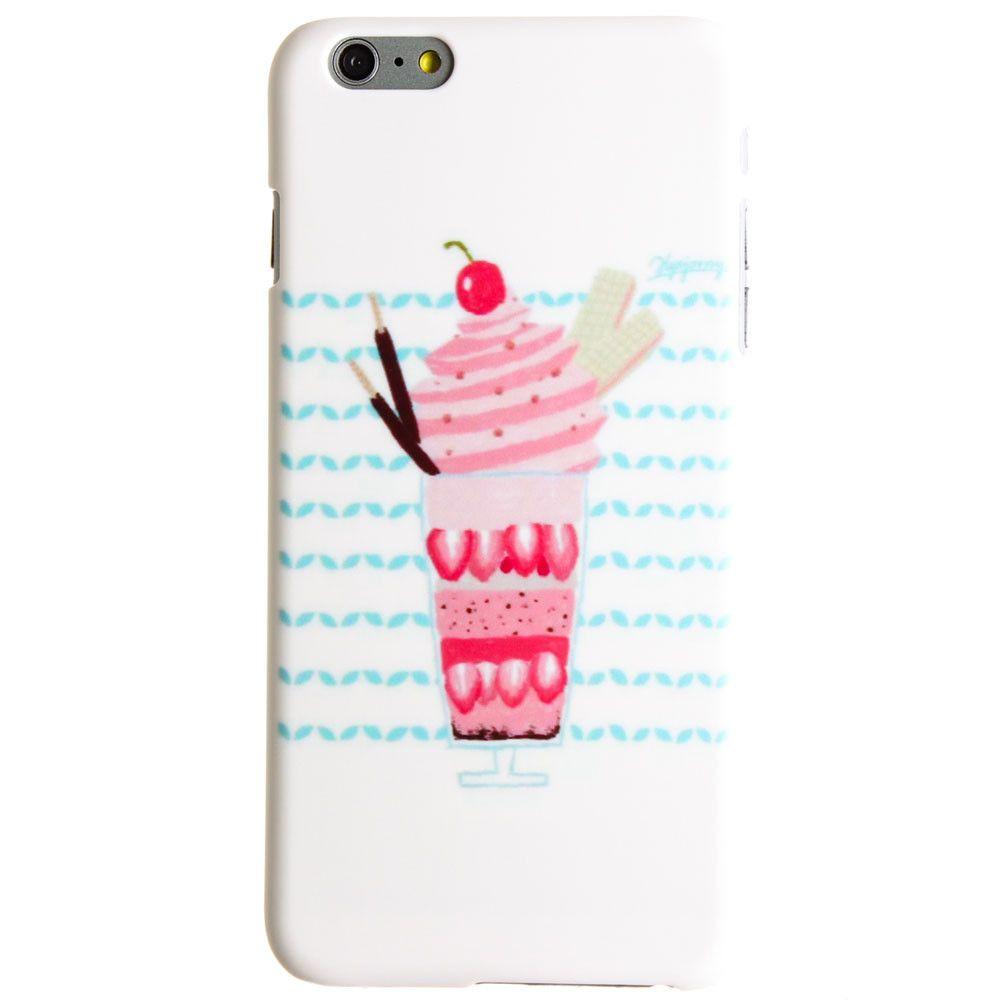 Strawberry Sunday Design Slim Fit Hard Plastic Case, Pink/White