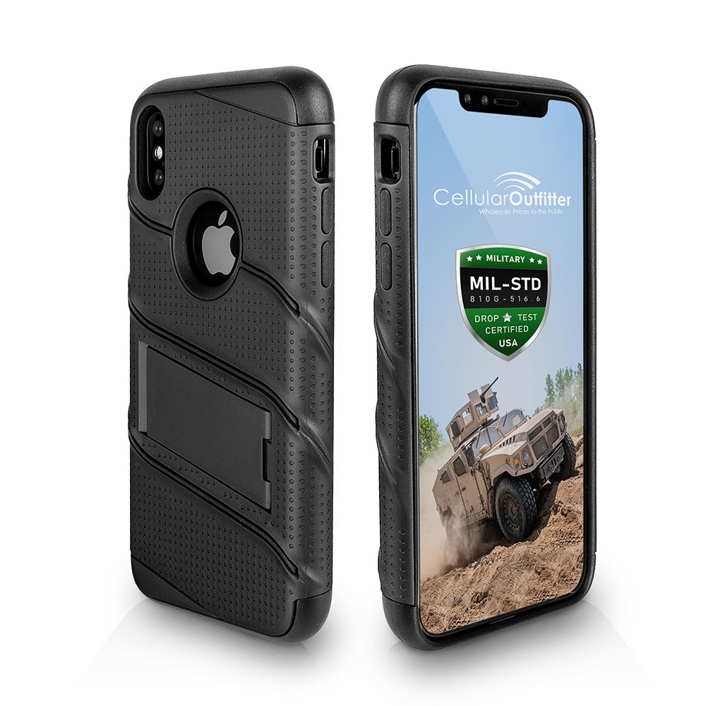 Apple iPhone X - RoBolt Heavy-Duty Rugged Case and Holster Combo, Black