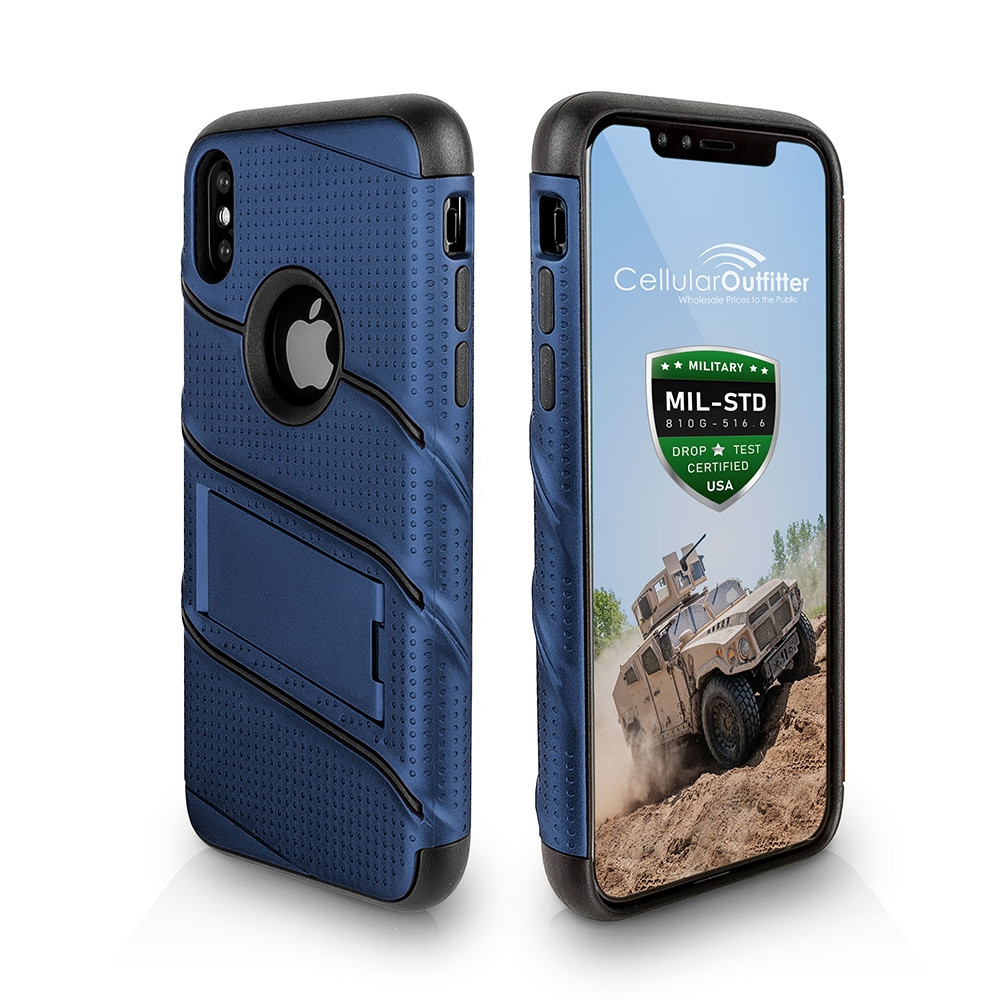 Apple iPhone X - RoBolt Heavy-Duty Rugged Case and Holster Combo, Navy Blue/Black