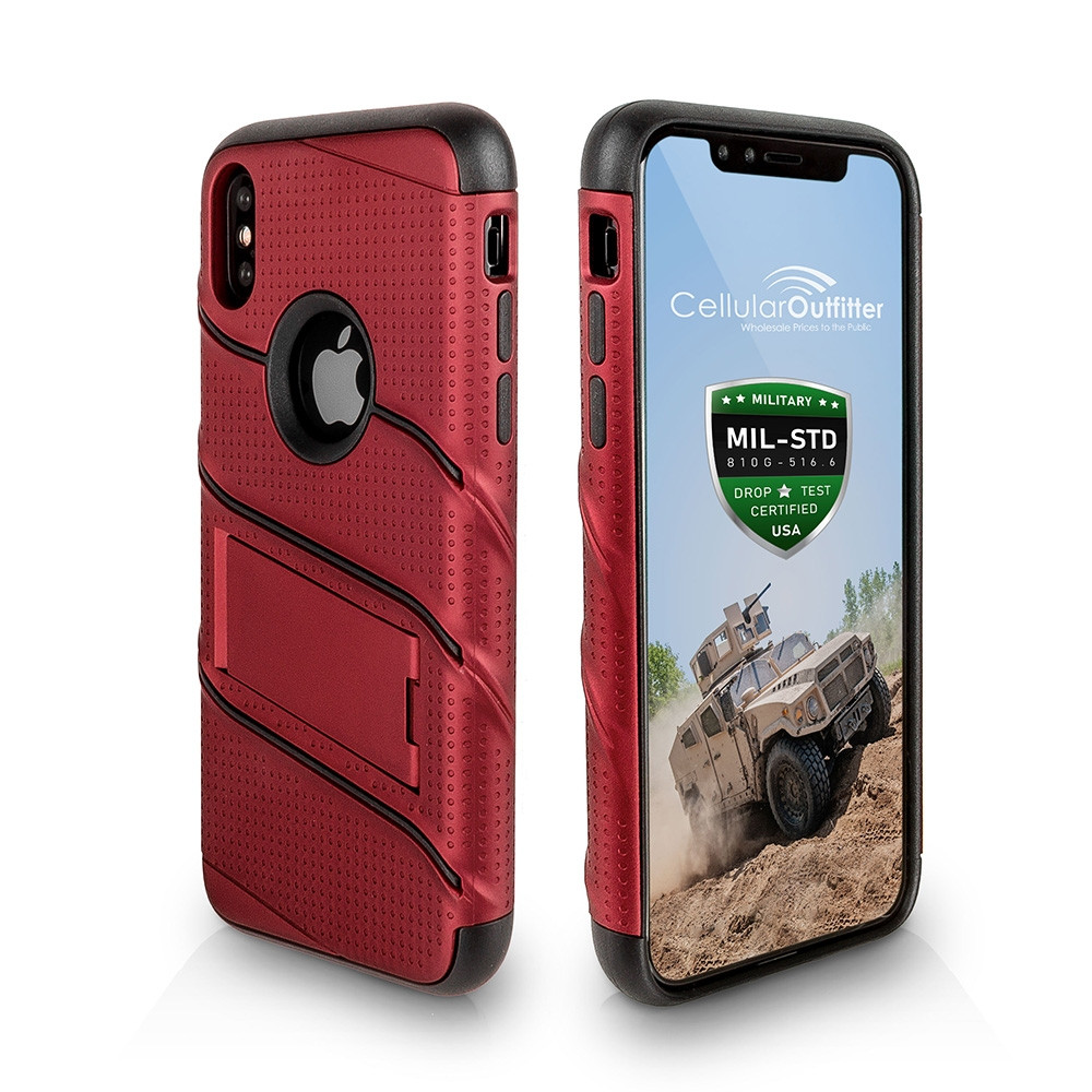 Apple iPhone X - RoBolt Heavy-Duty Rugged Case and Holster Combo, Red/Black