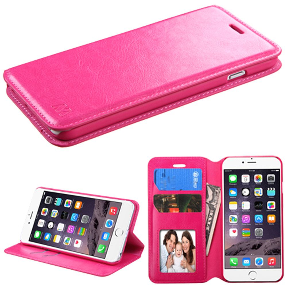 Apple iPhone 6 Plus -  Bi-Fold Leather Folding Wallet Case and Stand, Pink