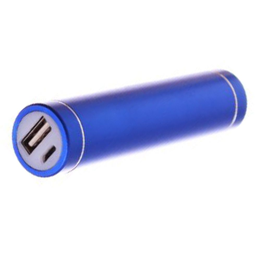 Apple iPhone X -  Universal Metal Cylinder Power Bank/Portable Phone Charger (2600 mAh) with cable, Blue