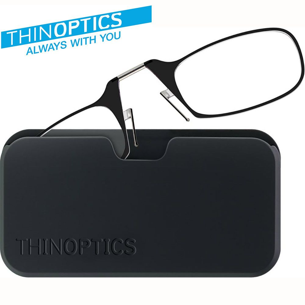 Apple iPhone X -  Original THINOPTICS Reading Glasses with Universal Pod +1.00 strength covers +0.75-1.25, Black