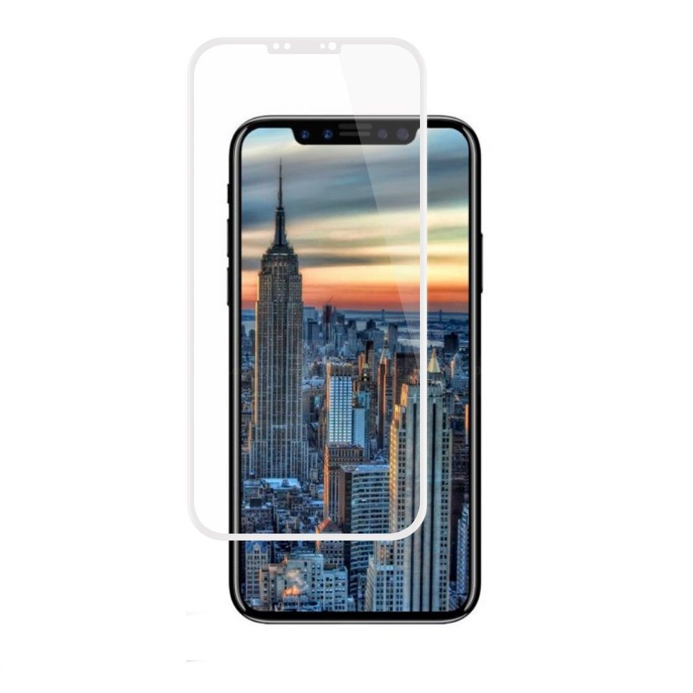 Apple iPhone X -  Full Edge Colored Tempered Glass Screen Protector, White
