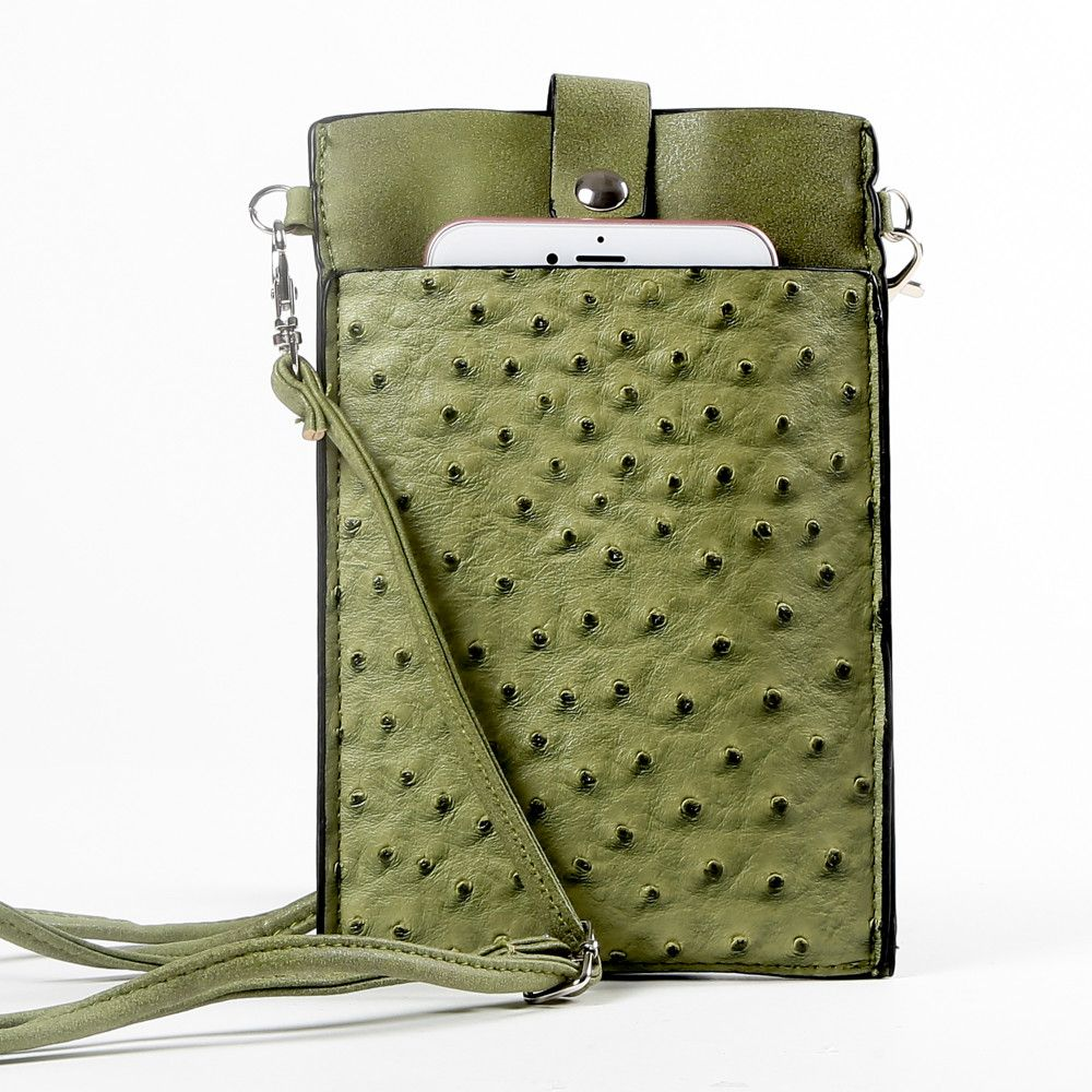 Apple iPhone 6 Plus -  Top Buckle Crossbody bag with shoulder strap and wristlet, Olive Green