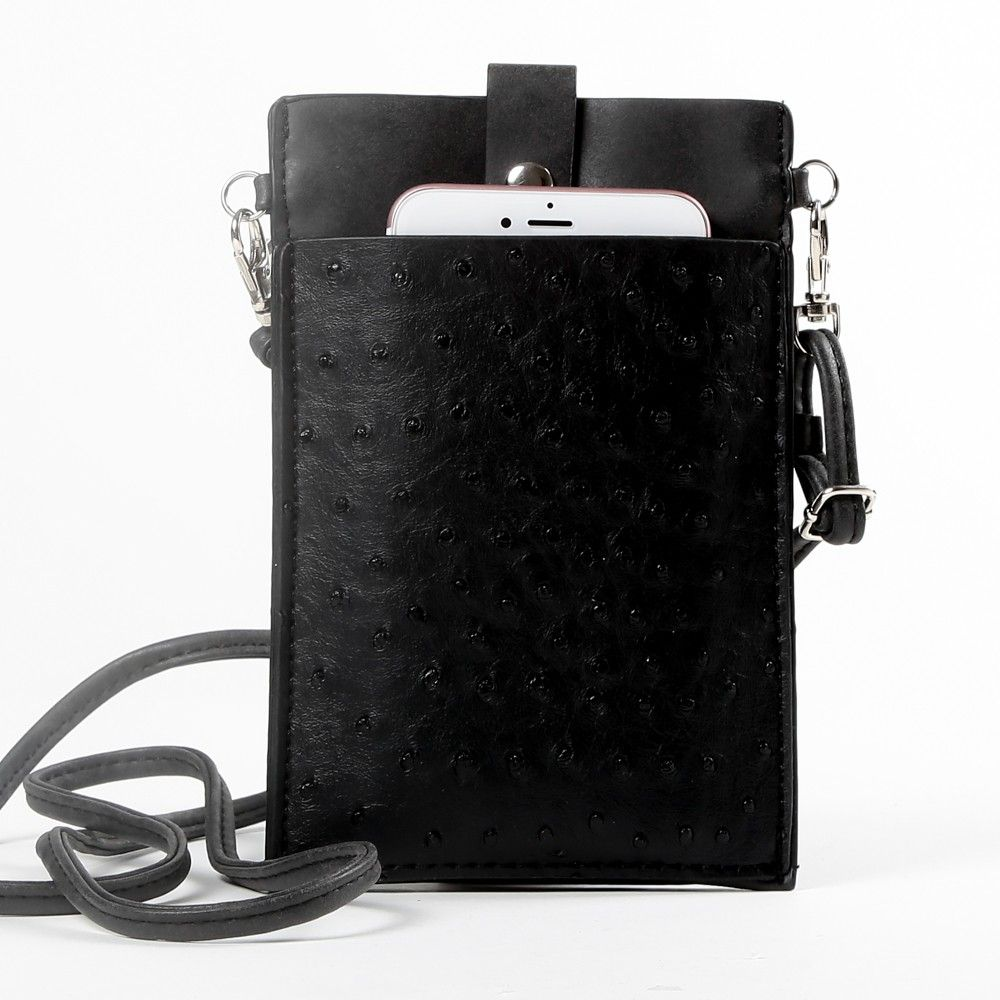Apple iPhone 6 Plus -  Top Buckle Crossbody  bag with shoulder strap and wristlet, Classic Black