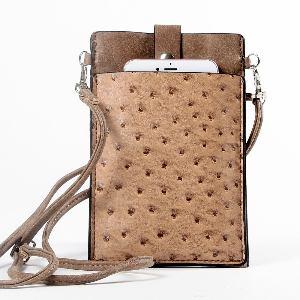 Apple iPhone 6 Plus -  Top Buckle Crossbody bag with shoulder strap and wristlet, Hazelnut