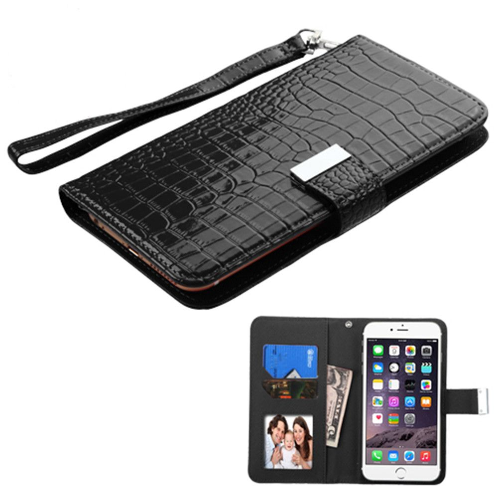 Apple iPhone 6 Plus -  Compact Wristlet Style Wallet with Card Slots, Black