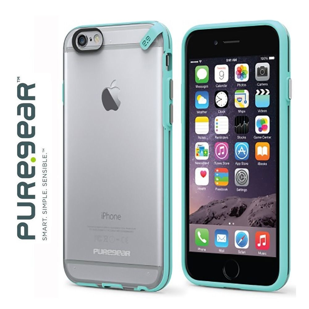 Original Puregear Apple iPhone 6/6s Plus Slim Shell Rugged Case, Clear/Mint