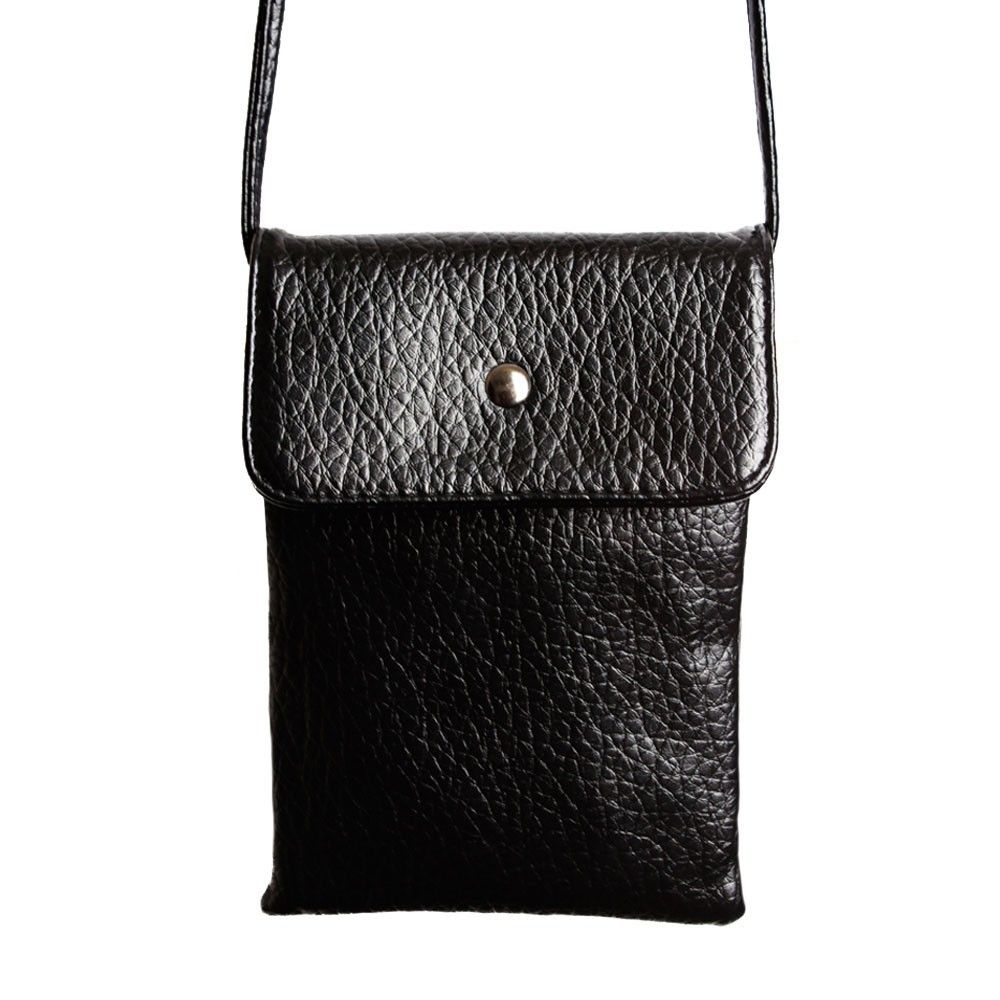 Apple iPhone 6 Plus -  Vegan Leather Compact Crossbody Shoulder Bag, Black