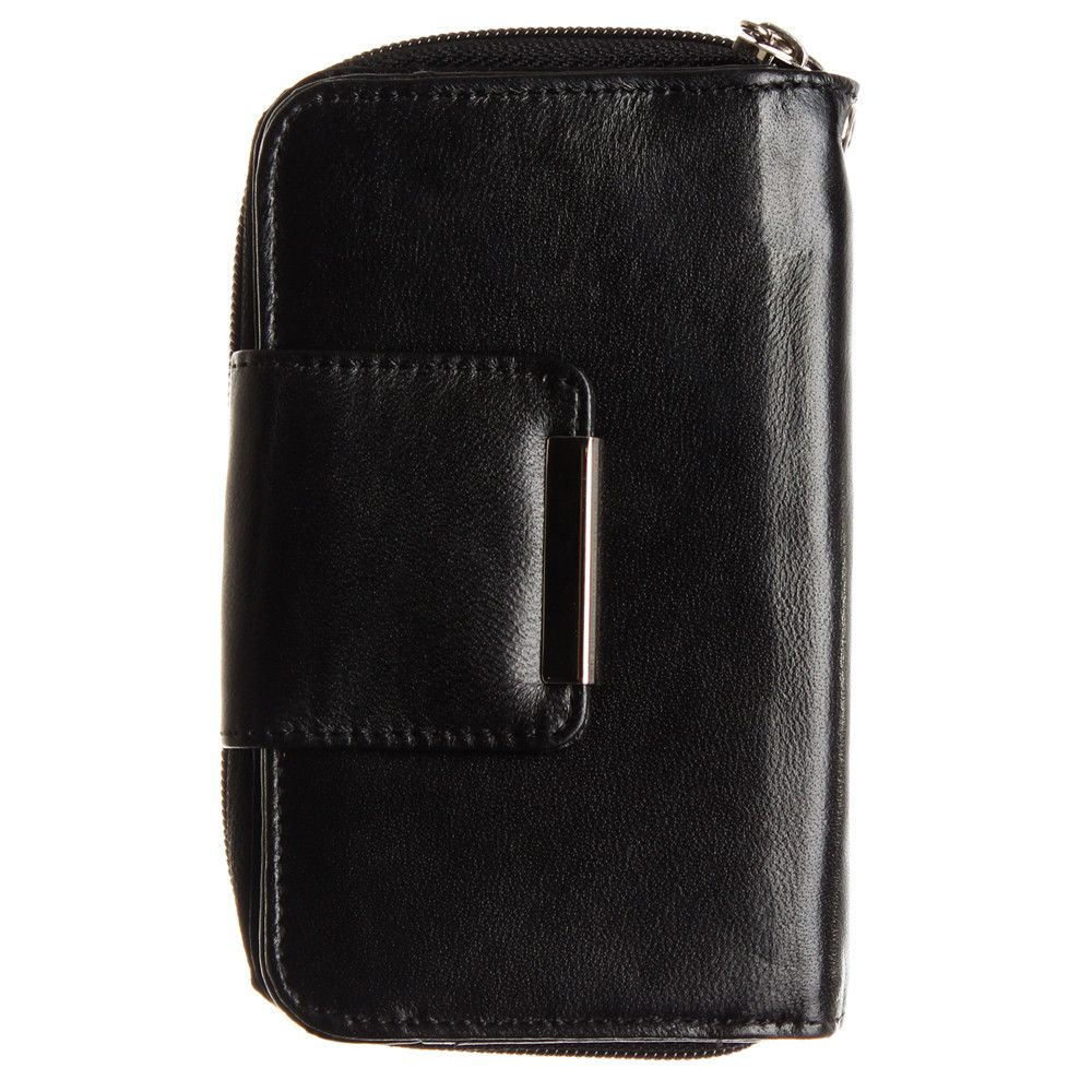 Apple iPhone 6 Plus -  Genuine Leather Wallet Clutch with Wristlet, Black