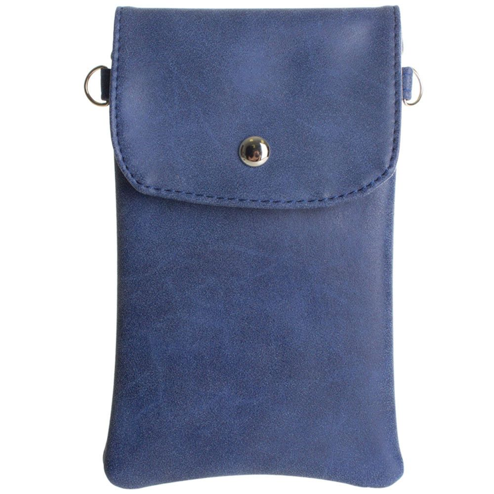 Apple iPhone 6 Plus -   Leather Matte Crossbody bag with back zipper, Blue
