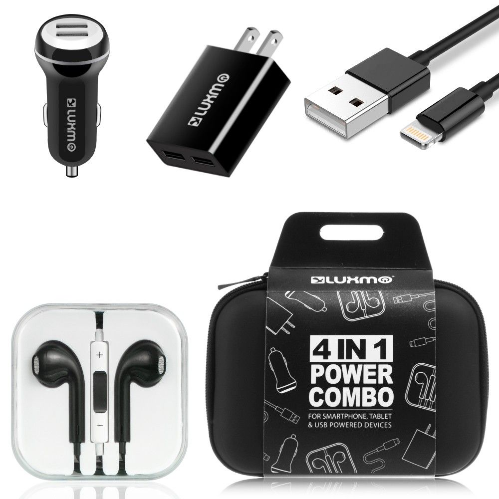 Apple iPhone 6 Plus -  Luxmo Charging Bundle - Includes Car & Home Charger Adapters, Lightning Cable & Headphones, Black