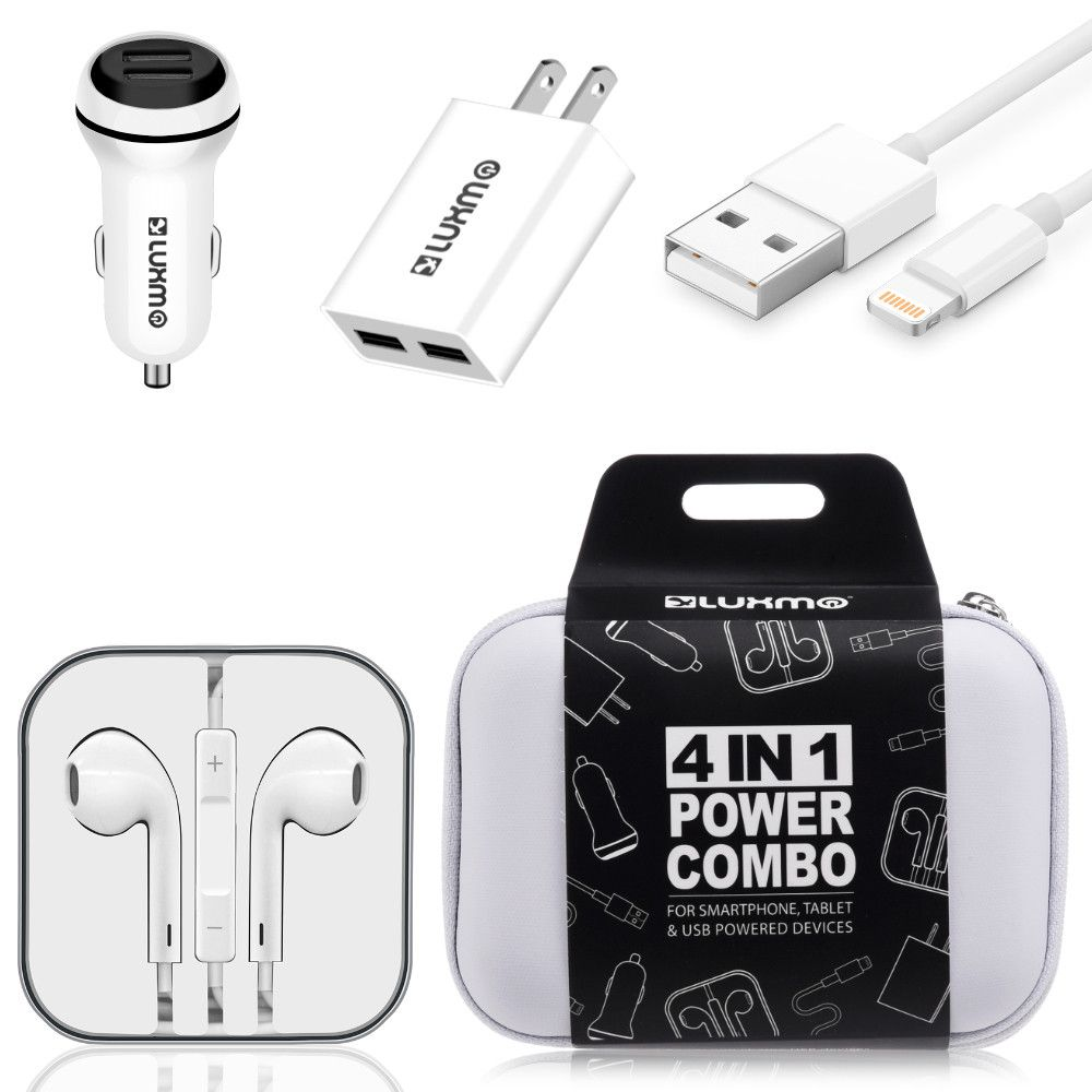 Apple iPhone 6 Plus -  Luxmo Charging Bundle - Includes Car & Home Charger Adapters, Lightning Cable & Headphones, White