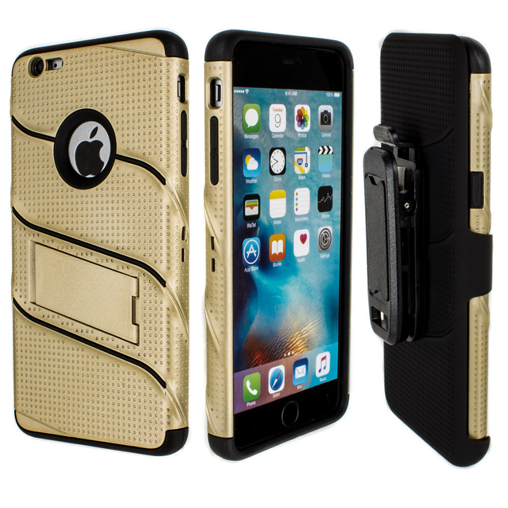 Apple iPhone 6/6s Plus - RoBolt Heavy-Duty Rugged Case and Holster Combo, Gold/Black