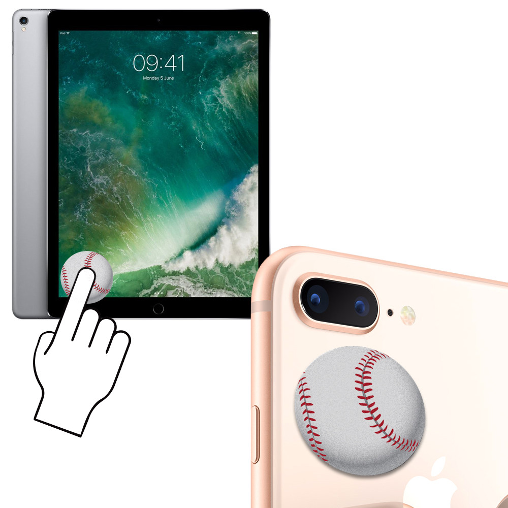 Apple iPhone 6 Plus -  Baseball Design Re-usable Stick-on Screen Cleaner, White