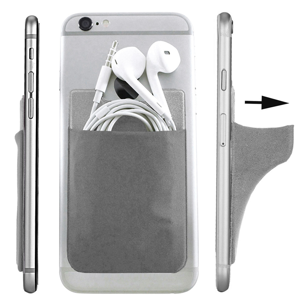Apple iPhone 6 Plus -  Lycra Spandex Stick-on Card Pocket, Gray