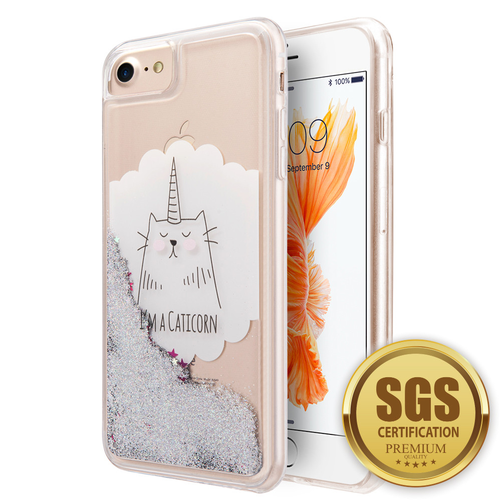 Apple iPhone 6s -  I'm a Caticorn Printed Liquid Waterfall Quicksand Case, Multi-Color