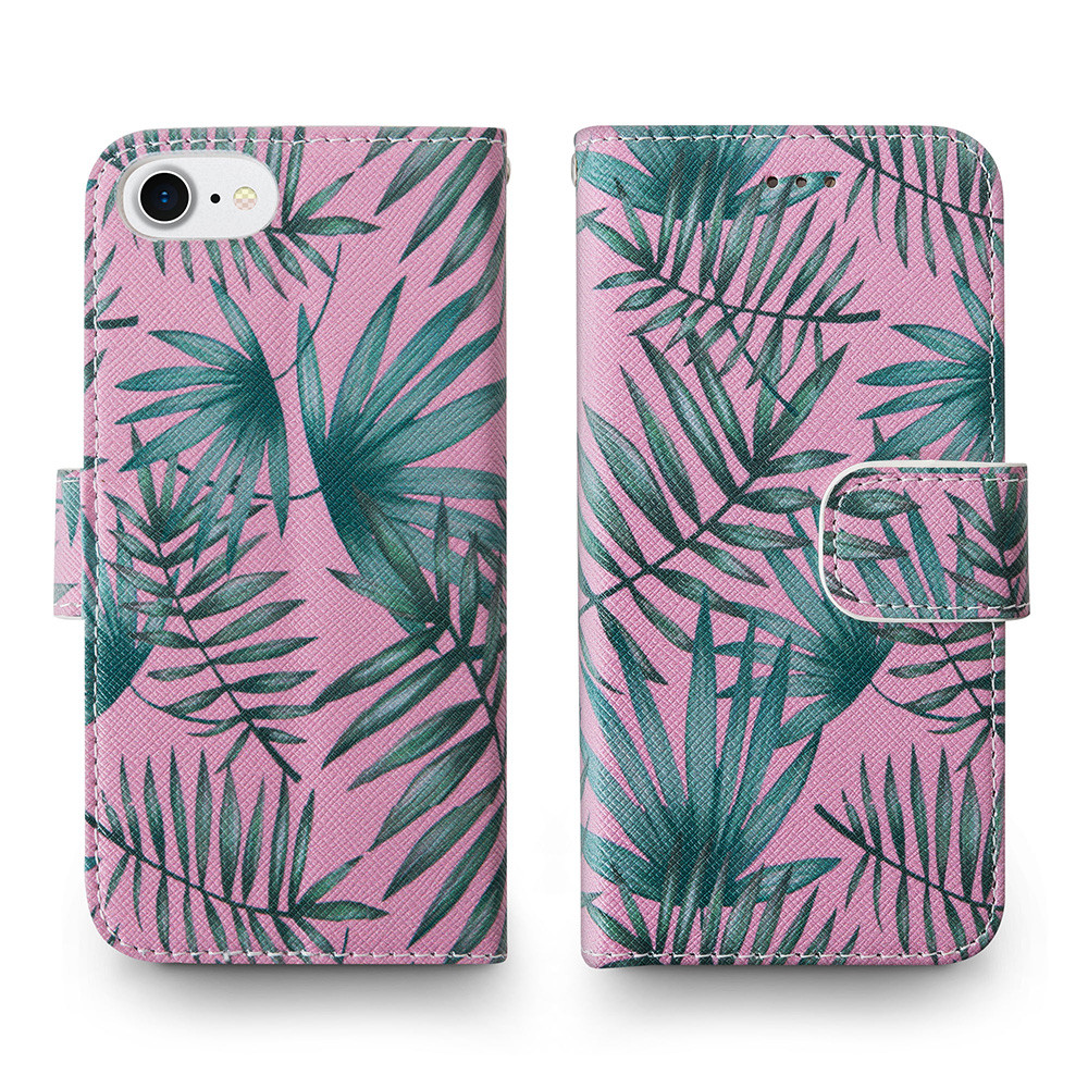 Apple iPhone 6s -  Palm Leaves Printed Wallet with Matching Detachable Slim Case and Wristlet, Pink/Green