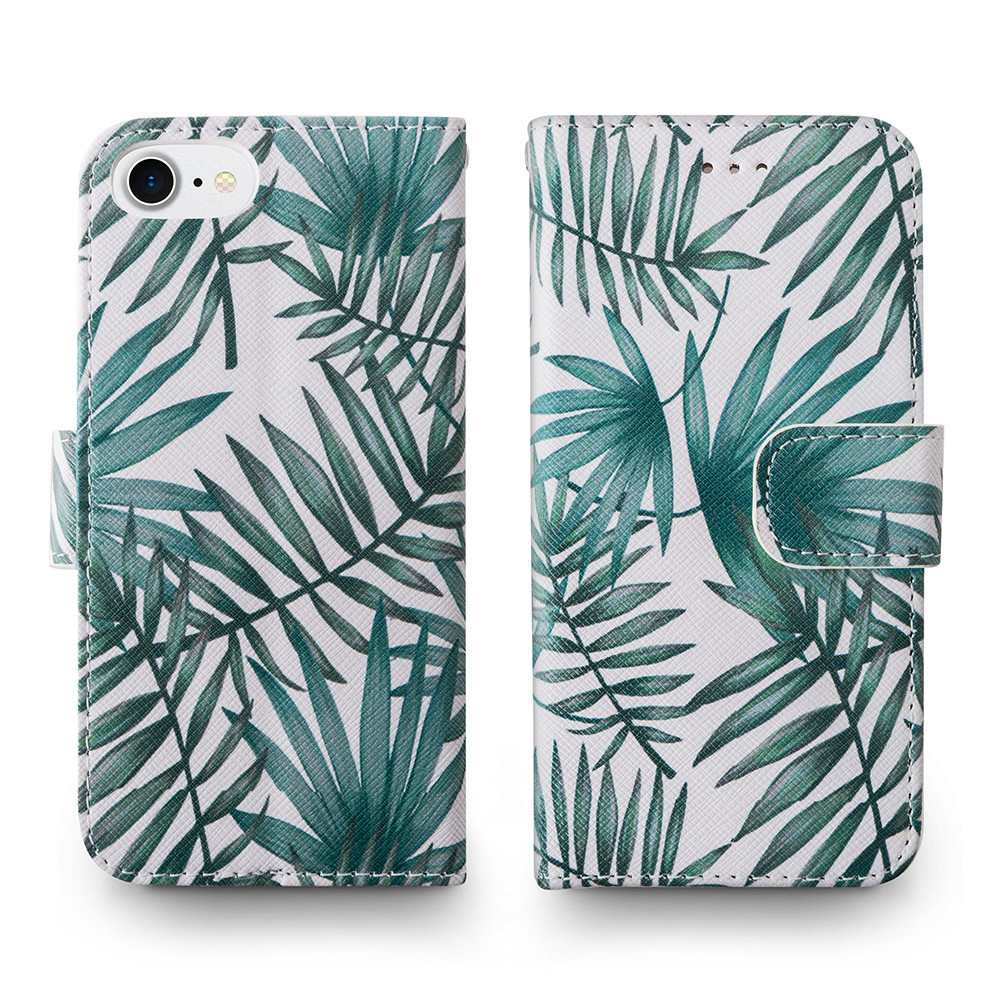 Apple iPhone 6s -  Palm Leaves Printed Wallet with Matching Detachable Slim Case and Wristlet, White/Green