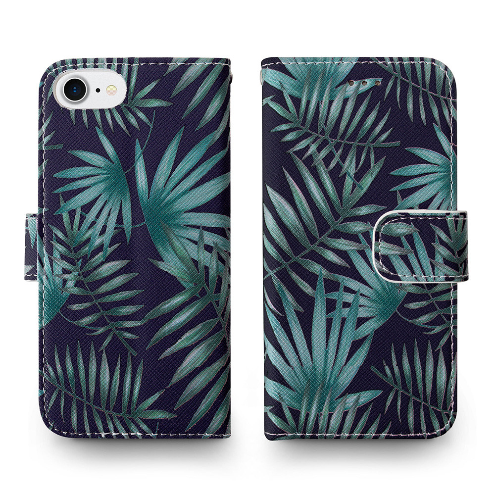 Apple iPhone 6s -  Palm Leaves Printed Wallet with Matching Detachable Slim Case and Wristlet, Navy Blue/Green