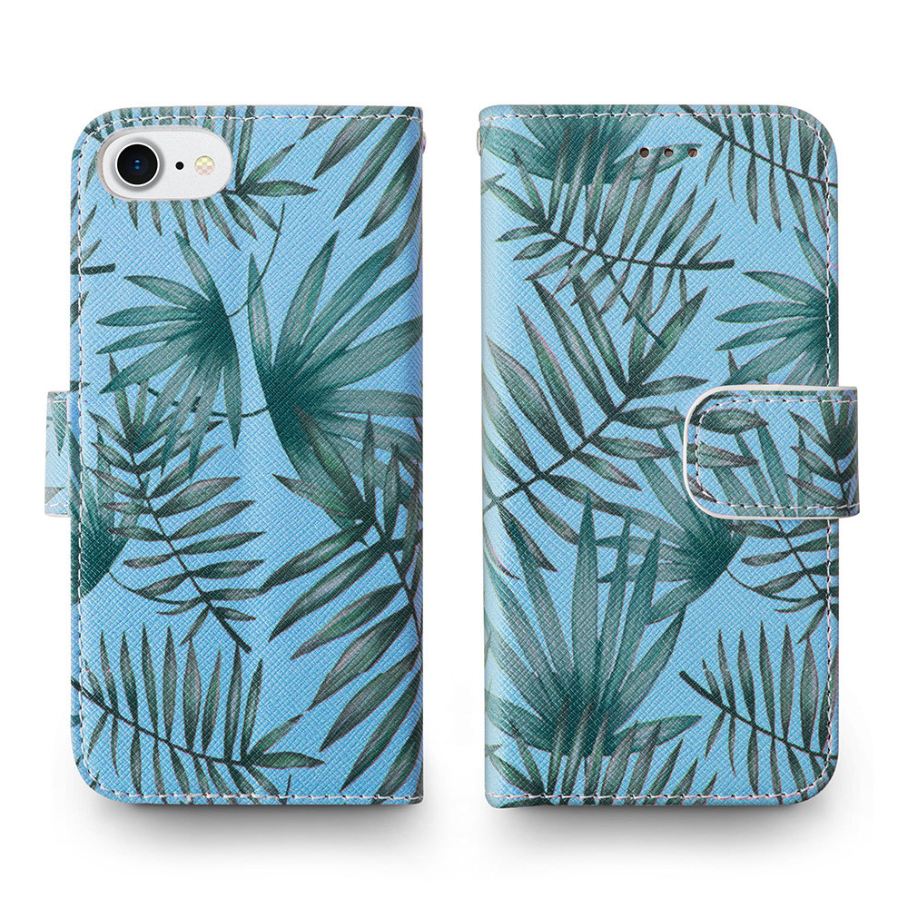 Apple iPhone 6s -  Palm Leaves Printed Wallet with Matching Detachable Slim Case and Wristlet, Light Blue/Green