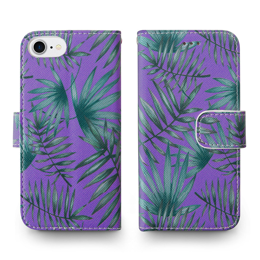 Apple iPhone 6s -  Palm Leaves Printed Wallet with Matching Detachable Slim Case and Wristlet, Purple/Green