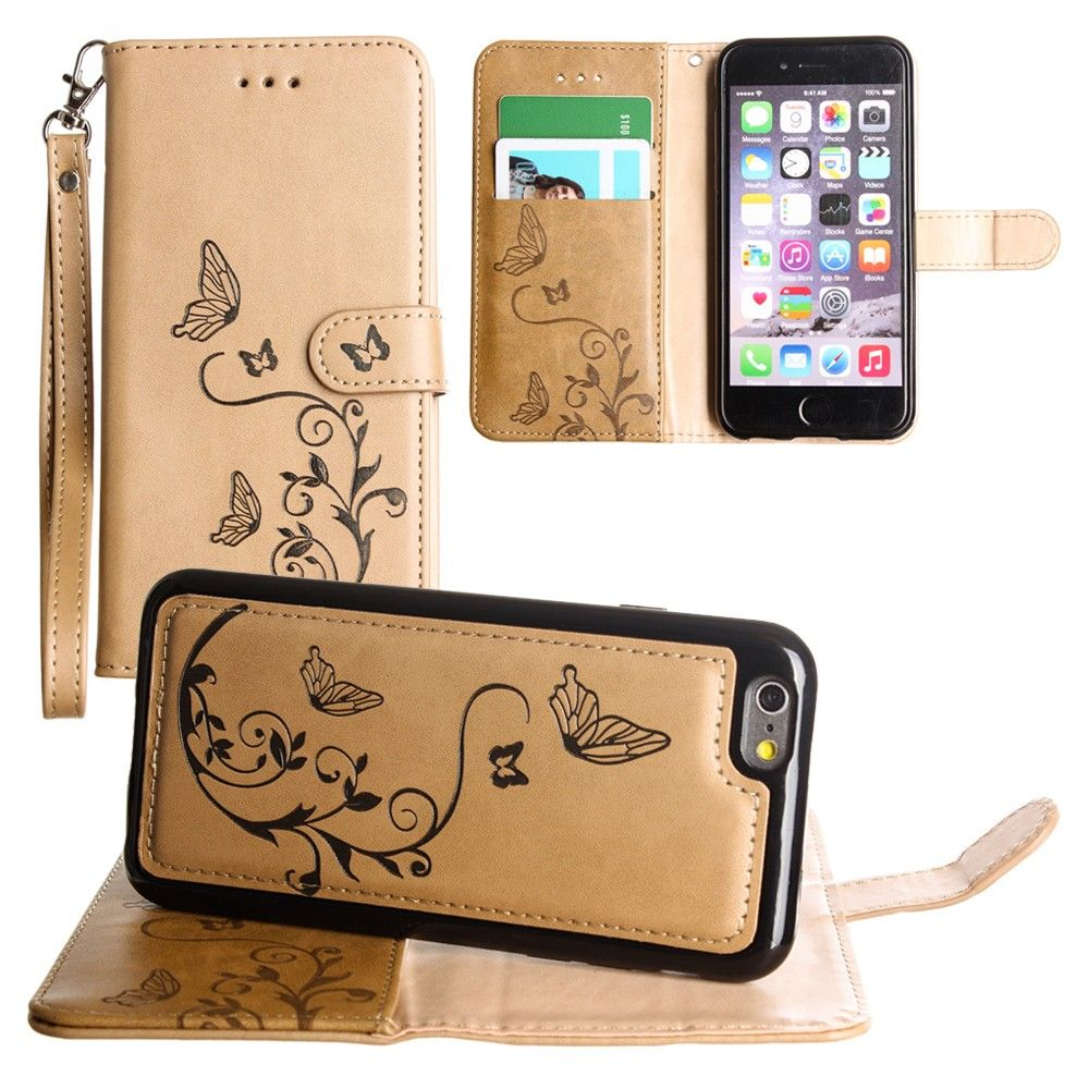 Apple iPhone 6s -  Embossed Butterfly Design Wallet Case with Detachable Matching Case and Wristlet, Taupe