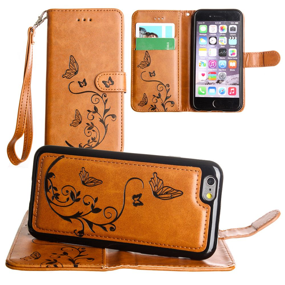 Apple iPhone 6s -  Embossed Butterfly Design Wallet Case with Detachable Matching Case and Wristlet, Brown