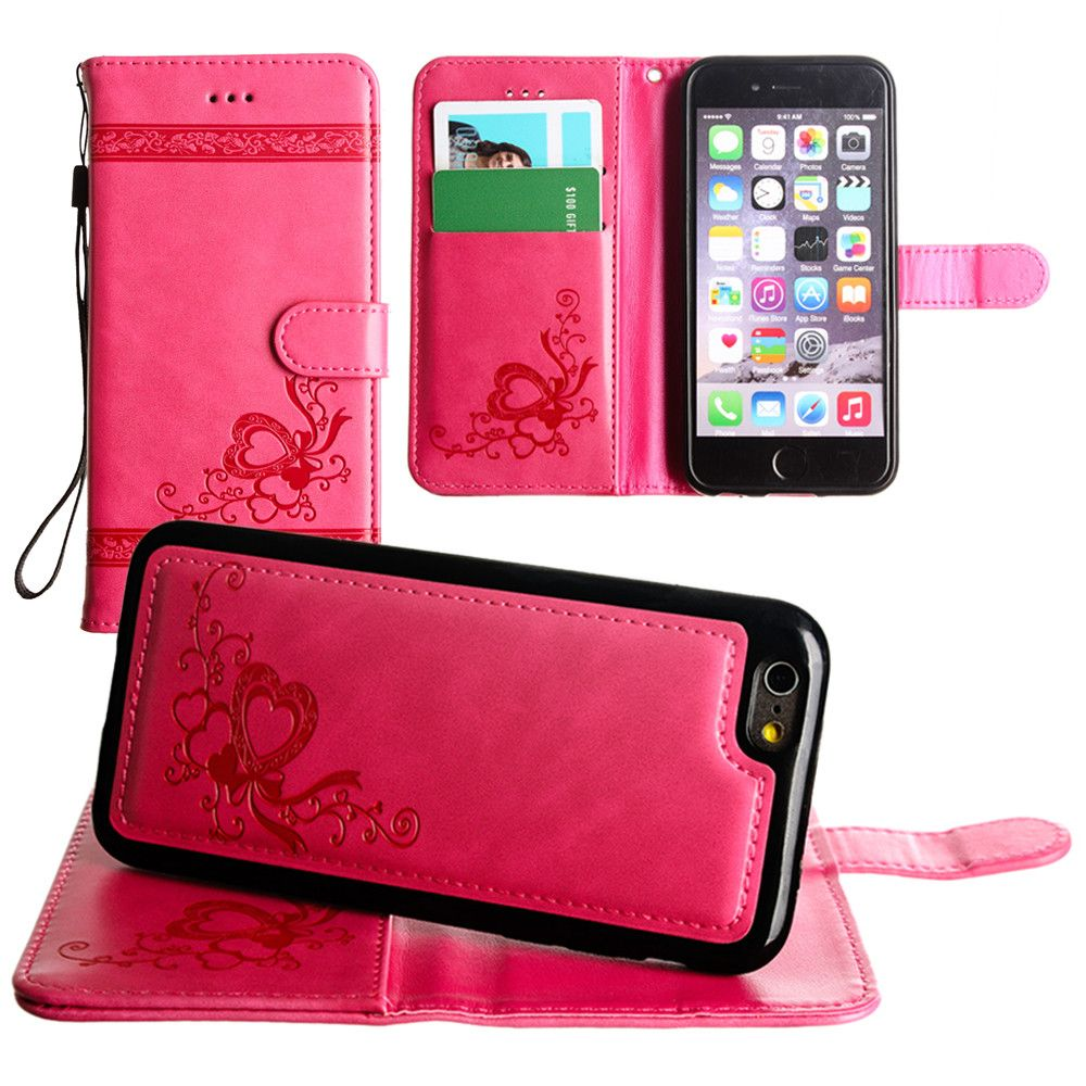 Apple iPhone 6s -  Embossed heart vine design wallet case with detachable matching case, Hot Pink