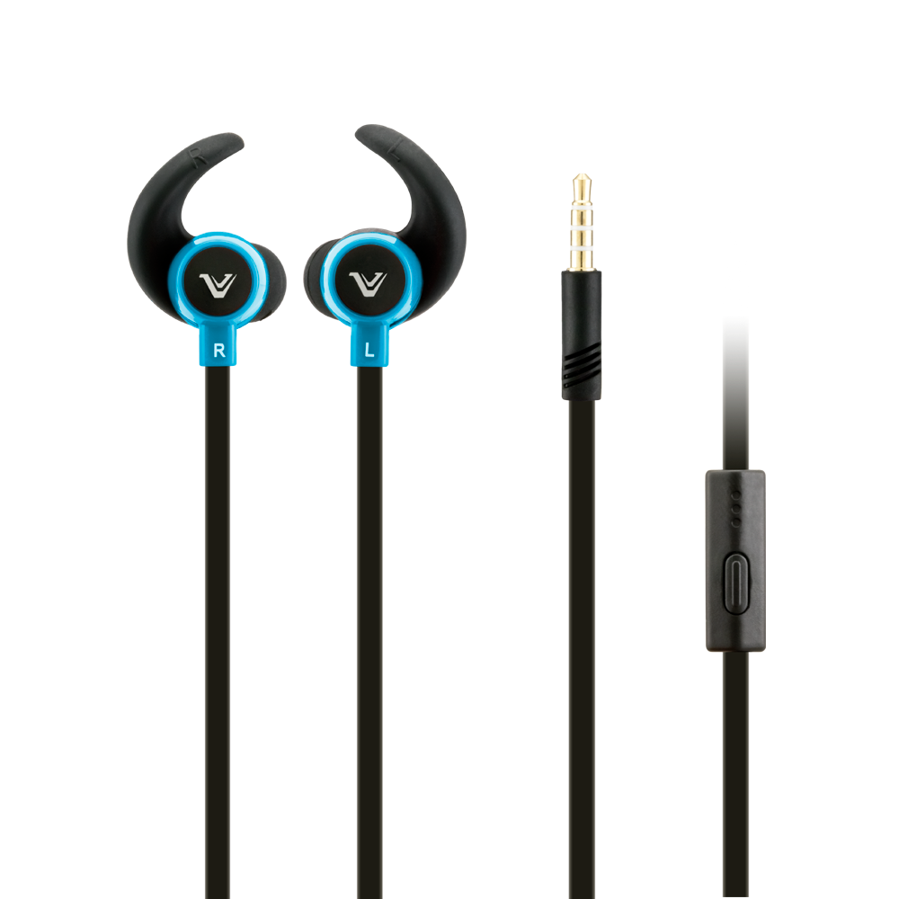 Apple iPhone 6 Plus -  Votec SP92 High Def Tangle-Free 3.5mm Stereo Headset w/Microphone, Black/Blue
