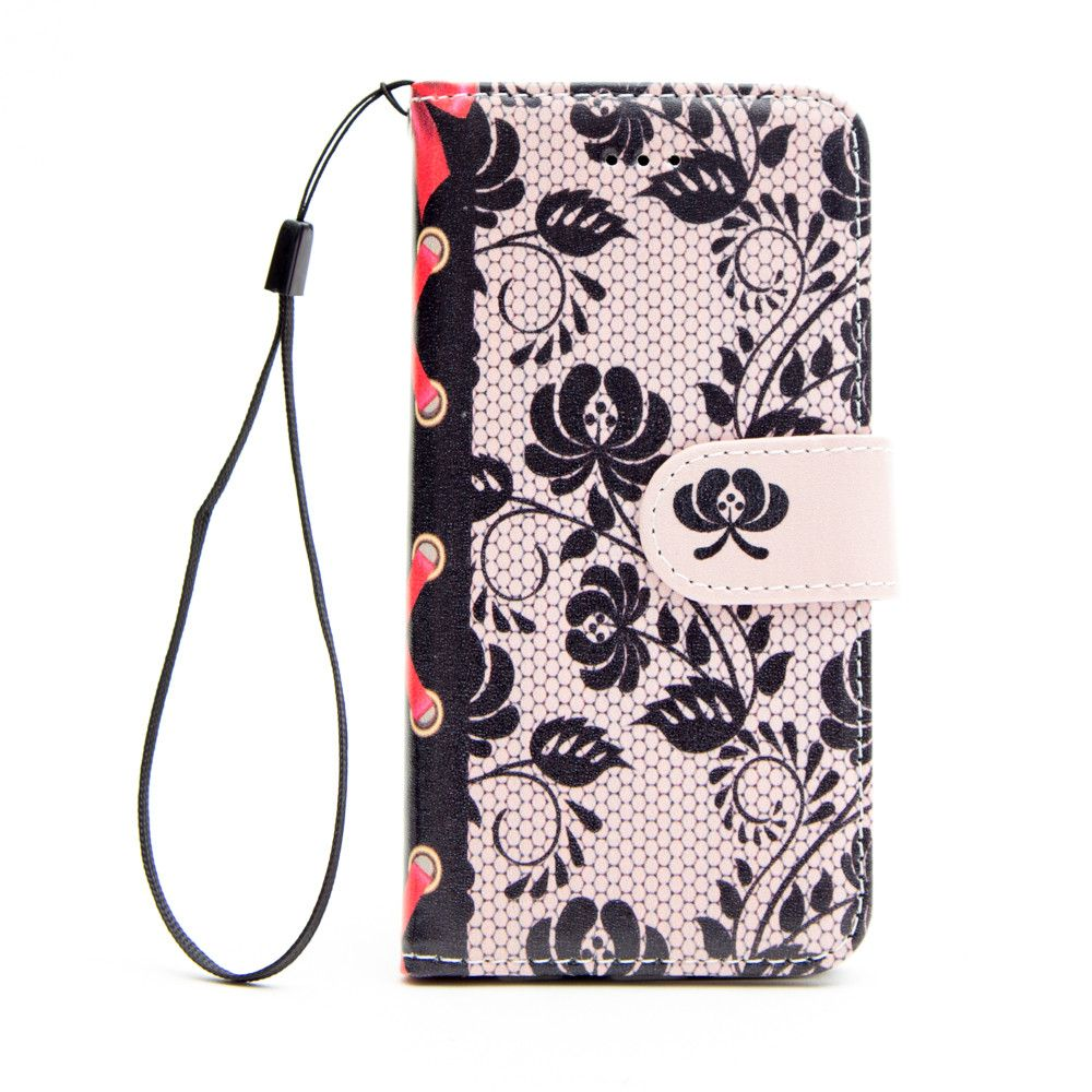 Apple iPhone 6/6s - Flower Lace Design Folding Wallet Case with wristlet, Black