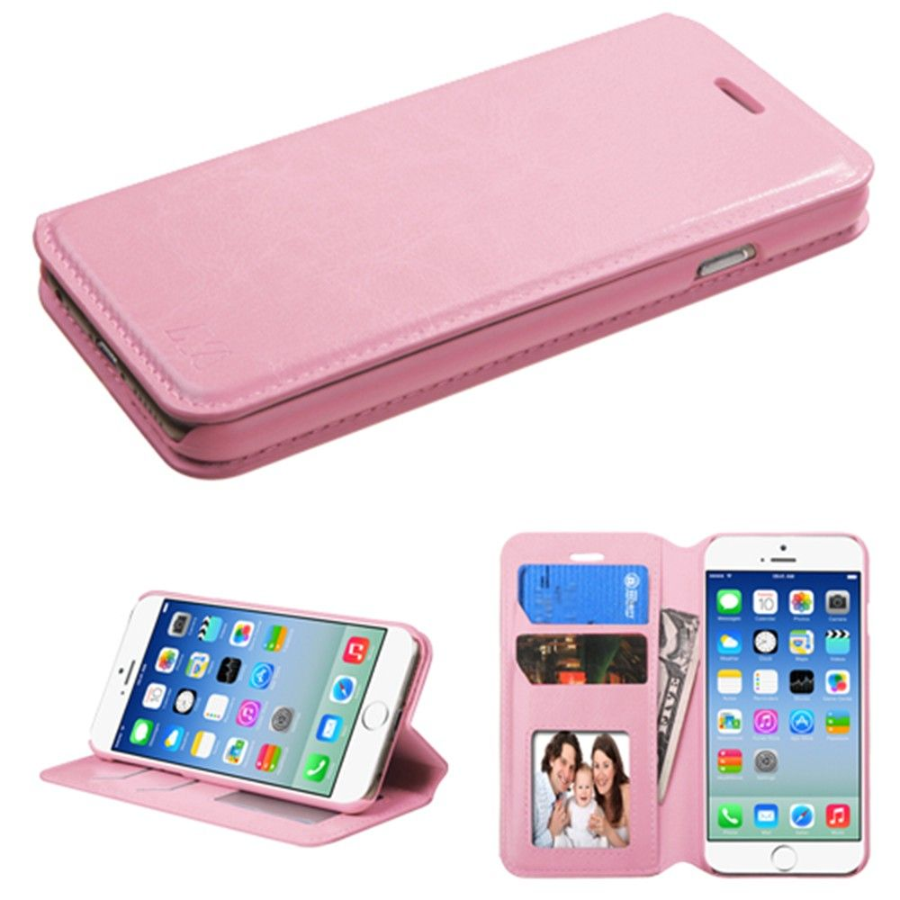 Apple iPhone 6/6s - Bi-Fold Leather Folding Wallet Case and Stand, Baby Pink