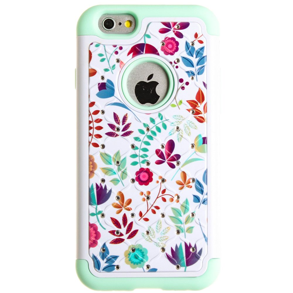 Apple iPhone 6/6s - Spring Flowers Studded Diamond Rugged Case, Mint