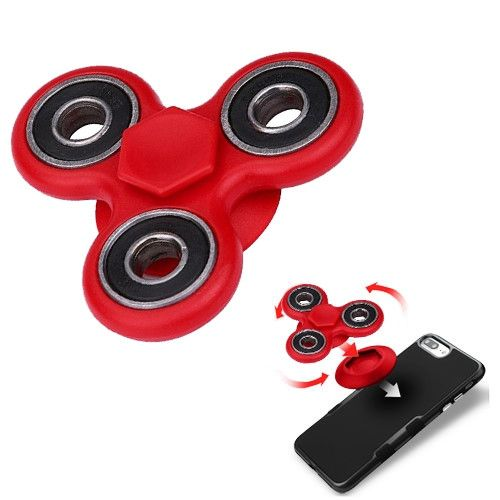 Apple iPhone 6 Plus -  Fidget Toy Spinner with Adhesive and Holder, Red/Black