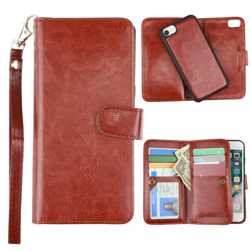 Apple iPhone 6s -  Multi-Card Slot Wallet Case with Matching Detachable Case and Wristlet, Brown