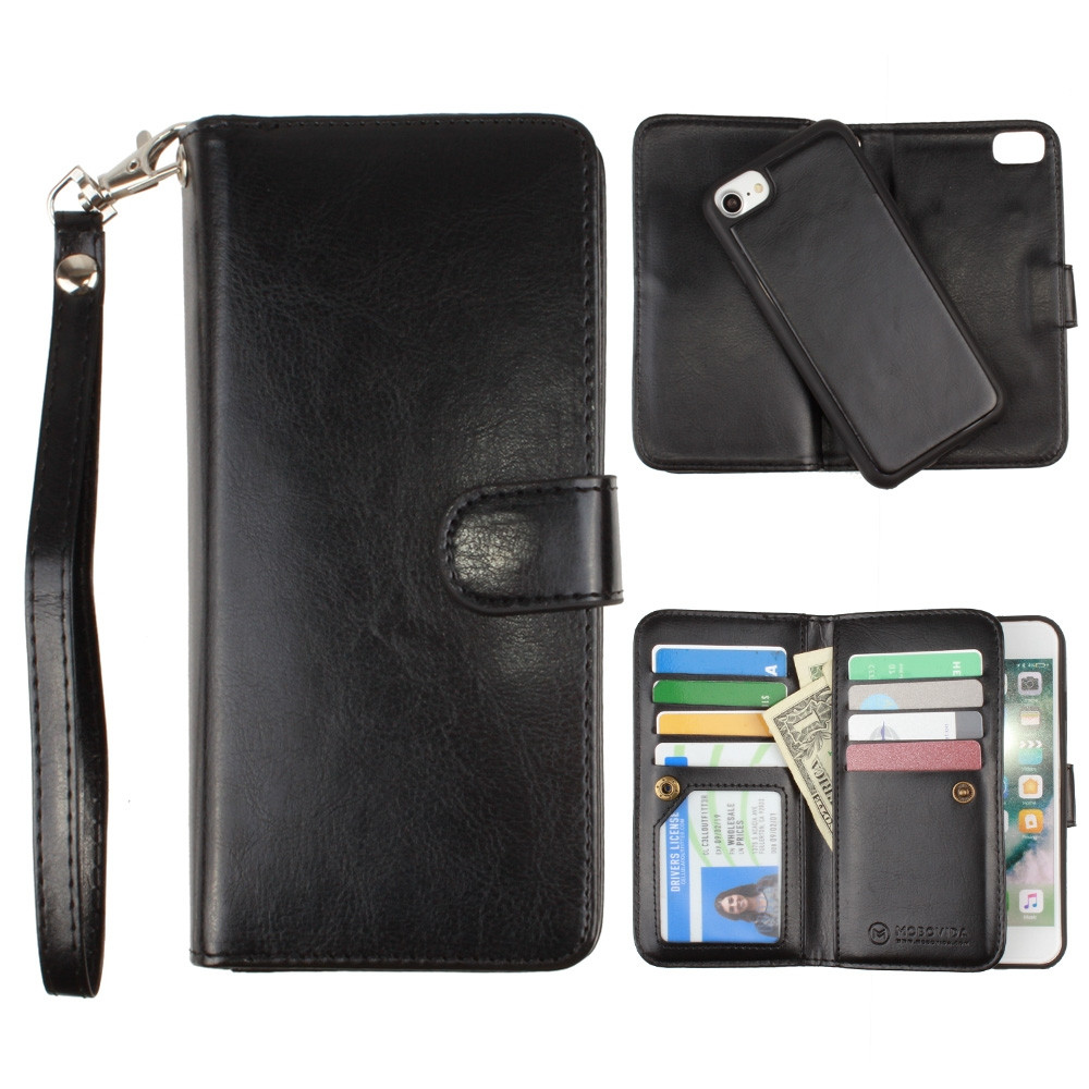 Apple iPhone 6s -  Multi-Card Slot Wallet Case with Matching Detachable Case and Wristlet, Black