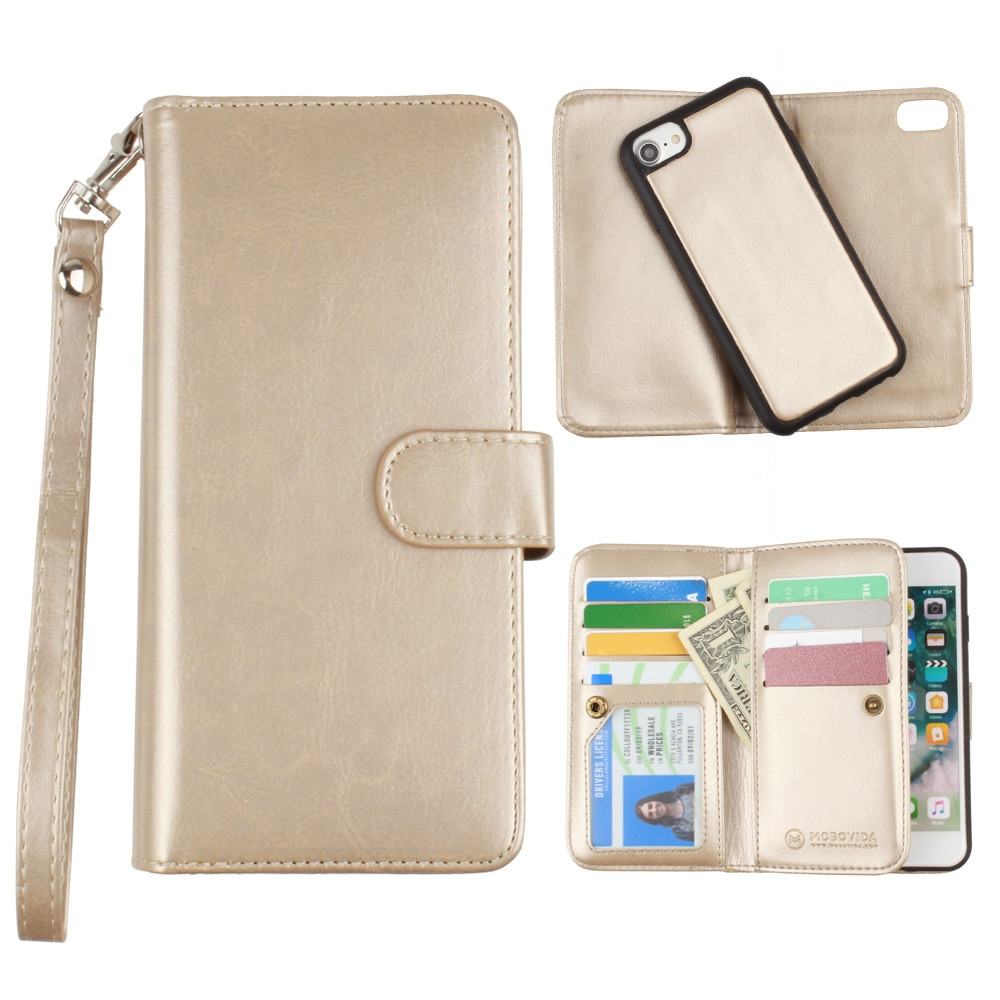 Apple iPhone 6s -  Multi-Card Slot Wallet Case with Matching Detachable Case and Wristlet, Gold