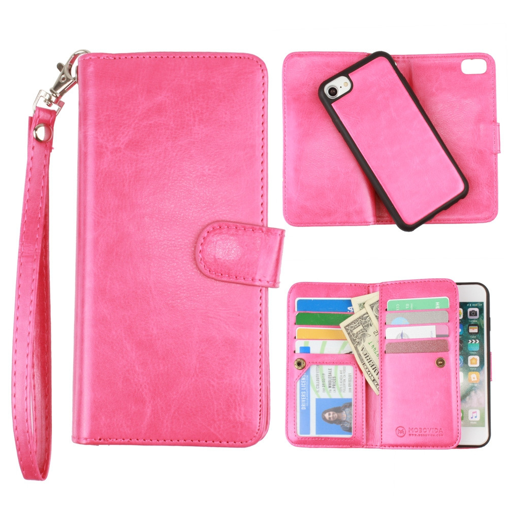 Apple iPhone 6s -  Multi-Card Slot Wallet Case with Matching Detachable Case and Wristlet, Hot Pink