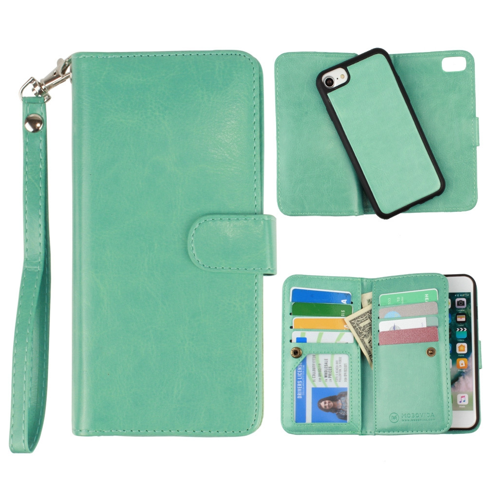 Apple iPhone 6s -  Multi-Card Slot Wallet Case with Matching Detachable Case and Wristlet, Teal Blue